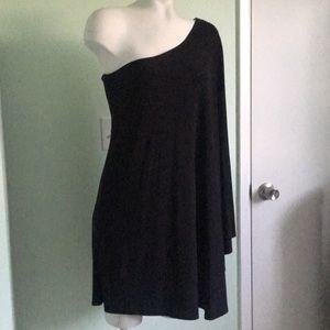 Black Asymmetrical Grecian Mini Dress